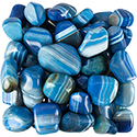 Blue Agate Striped Tumbled Stone