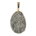 Silver Aura Druzy Necklace - Gold