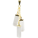 3 Selenite Slice Necklace - Gold
