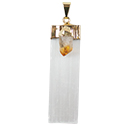 Selenite w/ Citrine Point Necklace - Gold