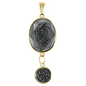 Aura Druzy with Drop Necklace - Gold