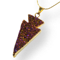Agate Aura Druzy Necklace - Arrowhead, Gold