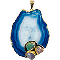 Agate Slice with 3 Stones Necklace - Gold