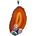 Agate Slice with 3 Stones Necklace - Silver