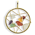 Dream Catcher with Gemstones Necklace - Gold