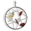 Dream Catcher with Gemstones Necklace - Silver
