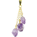 Amethyst 3 Points Necklace - Gold