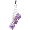 Amethyst 3 Points Necklace - Silver