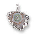 Amethyst Stalactite Slice Necklace - Silver
